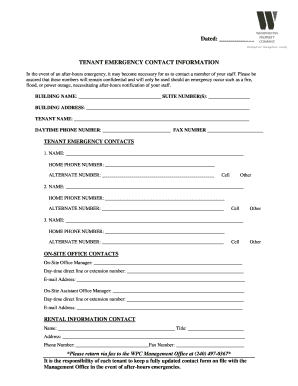 This is the easiest type of list to maintain. Tenant Emergency Contact Information Fill Out And Sign Printable Pdf Template Signnow