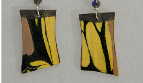 Sholeh Regna, Reversible Marbled Birch Earrings
