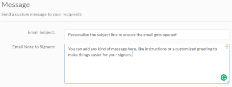 Customize your invitation email messaging and subject line