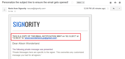 Copy notification emails