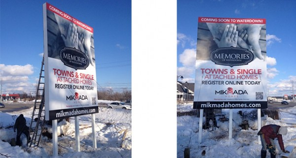 Billboard Sign Installation even in the coldest Canadian weather!