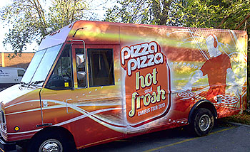 Pizza truck with vinyl wrap in Toronto