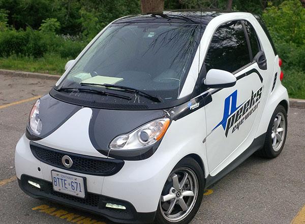 smart car partial vinyl ad wrap