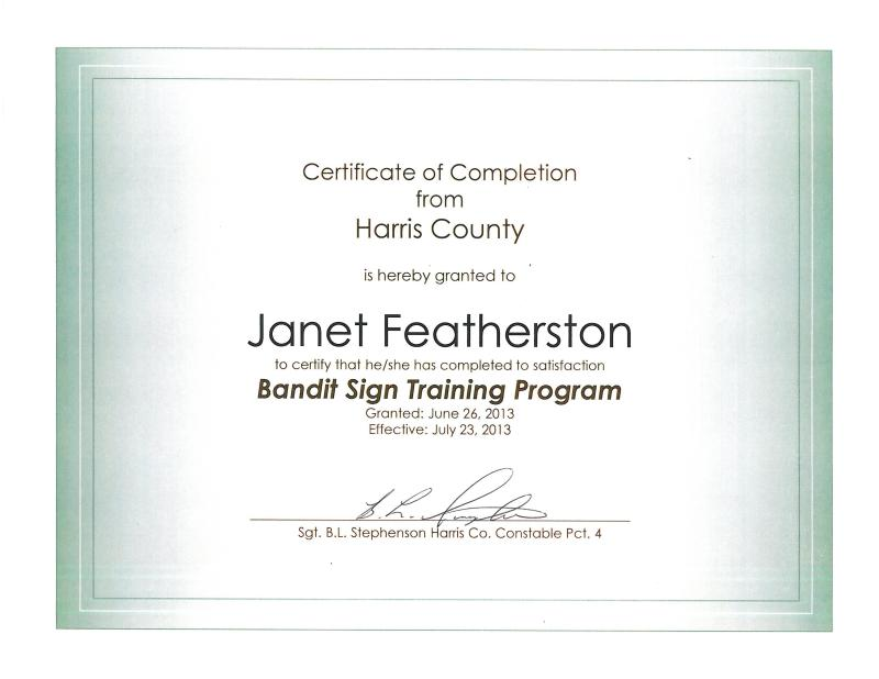 Certification Of Completion From Harris County Bandit Sign Ranger Class