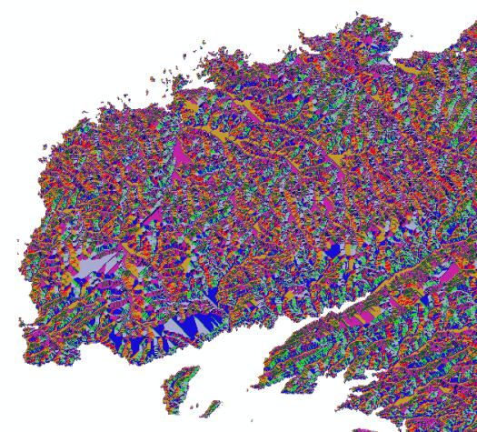 carte des directions d'écoulement