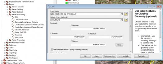 renseignement de l'outil clip raster d'arcmap