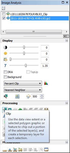 bouton clip de la fenêtre image analysis d'arcmap