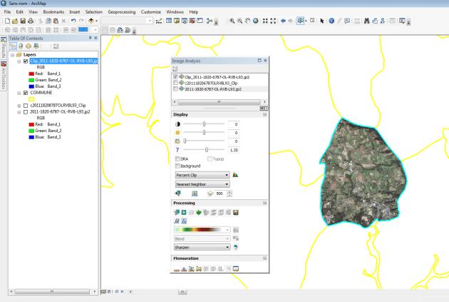 résultat du clip de la commande image analysis d'arcmap