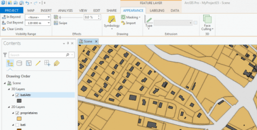 onglet appearence du ruban d'arcgis pro