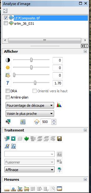 fenêtre analyse d'images d'arcmap