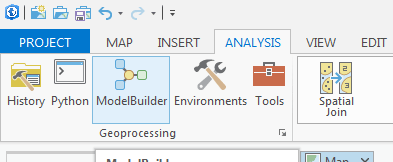 bouton Model builder dans le ruban d'arcgis pro