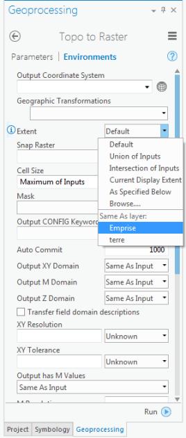 environnements de la commande topo vers raster