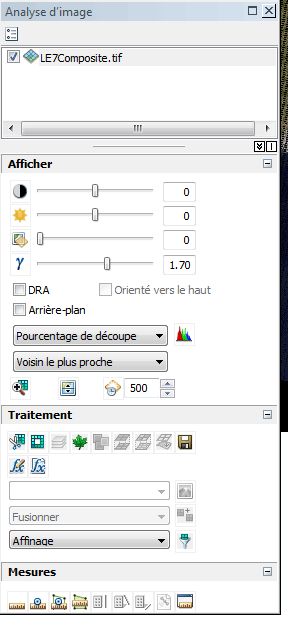 fenêtre image analysis d'arcmap