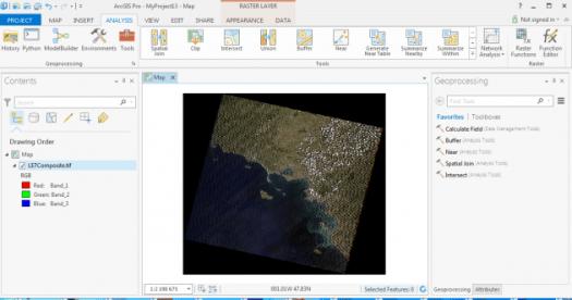 affichage de l'image landsat composite dans arcgis pro