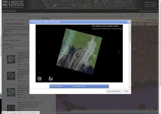 previsualisation des images disponibles dans earth explorer