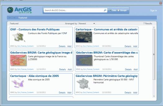 fenêtre de sélection des données arcgis online