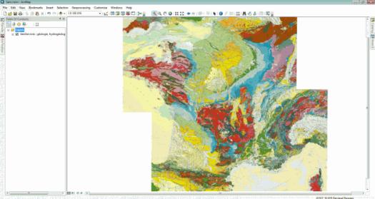 affichage de la carte géologique de la France d'ArcGis Online dans ArcMap