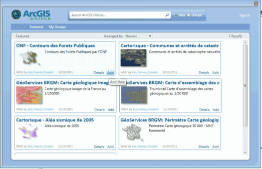 chargement des forêts publiques d'arcgis online