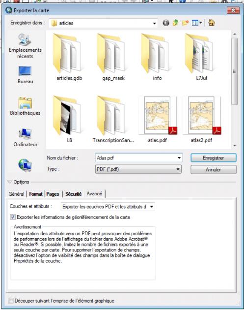 paramétrage de l'export de la carte en pdf