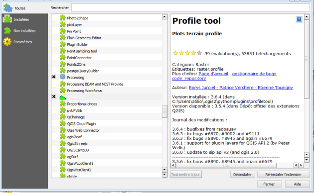 plugin Profile tool de QGis 2.8