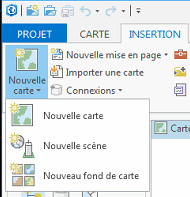 options du bouton nouvelle carte du ruban d'arcgis pro