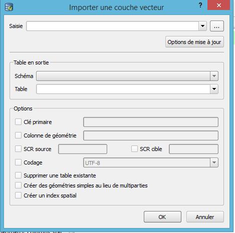fenêtre importer une couche vecteur du gestionnaire de base de données qgis