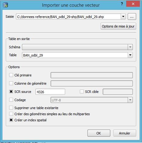 fenêtre d'import de données rensignée