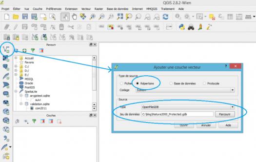 ouverture d'une geodatabase fichier avec QGis