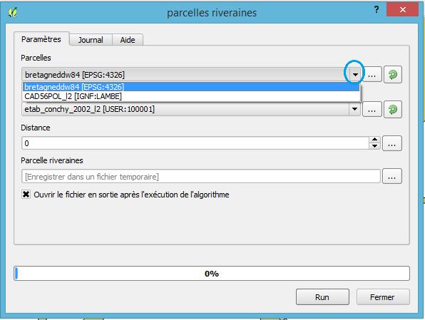 menu déroulant pour les données en entrée du modèle