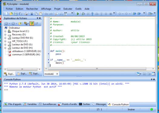 interface de pyscripter
