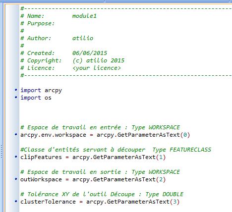définition des entrées et des sorties du script python