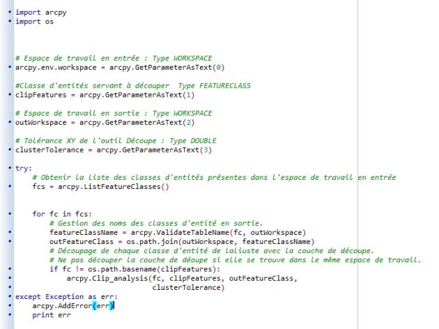 gestion des erreurs dfansle script python