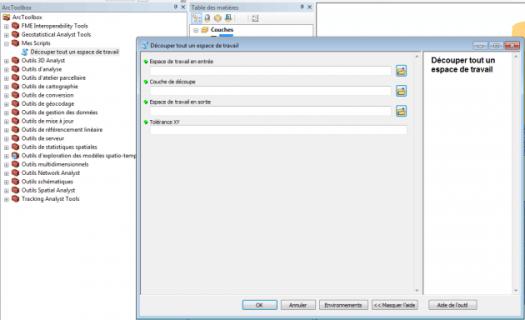 fenêtre de l'outil utilisant l script python