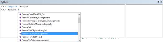 aide à la syntaxe de la console python d'arcmap