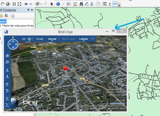 activez le bouton Bing biird's eye et cliquez sur la carte