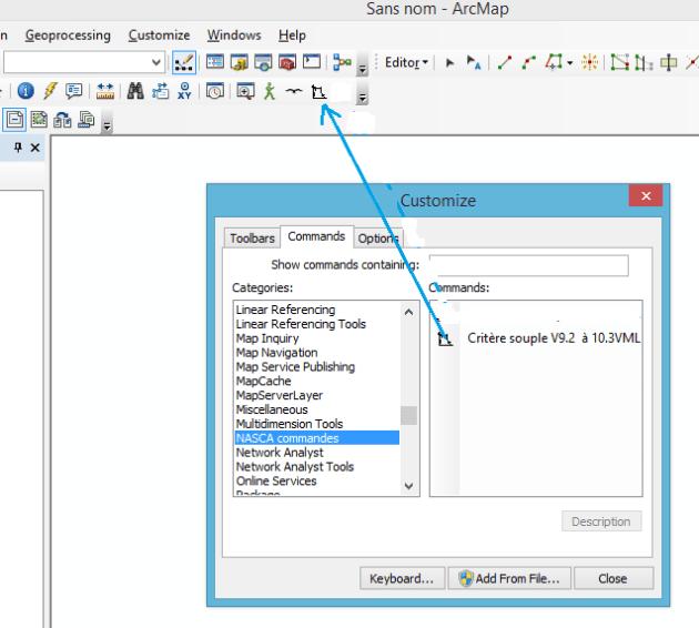 mise en place de la commande dans une barre d'outils disponible