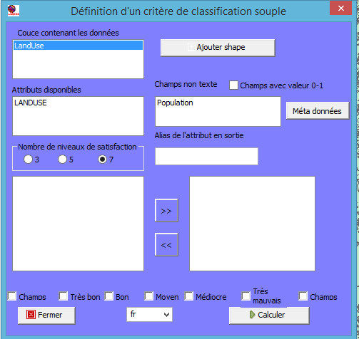 Interface de la commande Critère Texte