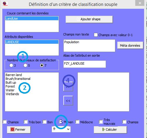 Configuration de la table de transformation du critère