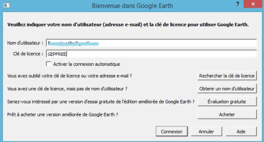 fenêtre de licence de google earth pro