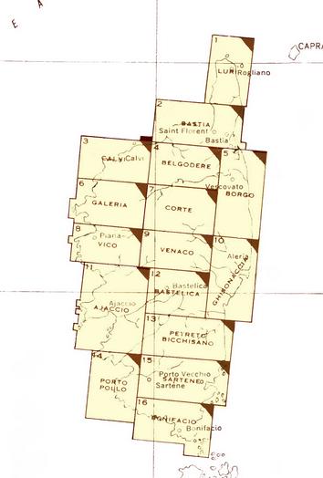 plan des cartes de la corse en 1943