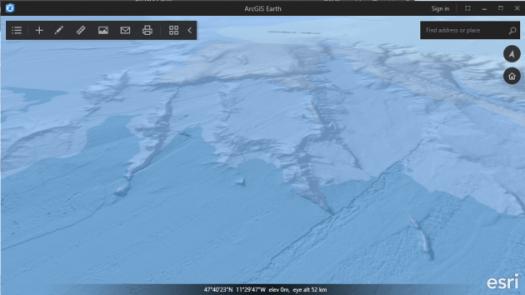 fons de carte océans et bathymétrie d'arcgis earth