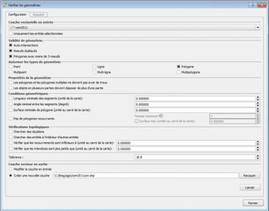 fenêtre de paramétrage du plugin vérificateur de géométries de qgis 2.12