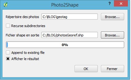 paramétrage du plugin photo2shape