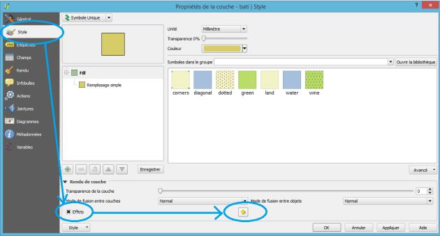 option effet de couche dans qgis 2.12