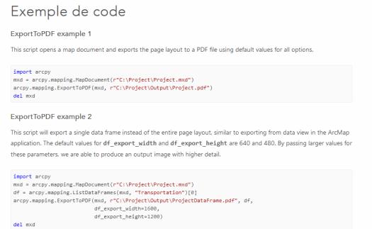 exemples de code de la commande