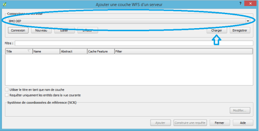 fenêtre de paramétrage d'une connexion WFS dans qgis 2.12.1