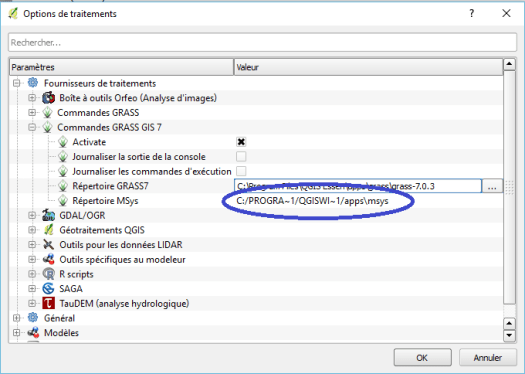 traitements->options->Grass7 dans qgis 2.14