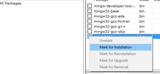 sélection de msys pour être installée