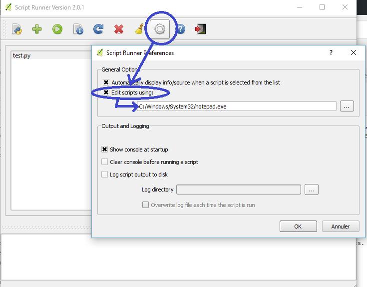 configuration de l'éditeur de texte du plugin script runner de qgis