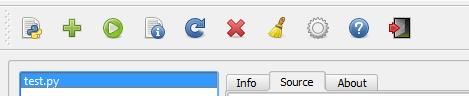 barre d'outils du plugin script runner de qgis